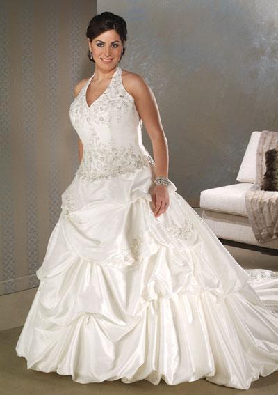 Halter style plus size wedding dresses